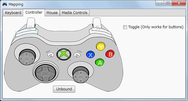 InputMapper 1.6.9 Profiles 画面で選択したプロファイルの編集画面内容 Mapping タブで各ボタンに割り当てられる内容 Controller タブ