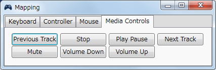 InputMapper 1.6.9 Profiles 画面で選択したプロファイルの編集画面内容 Mapping タブで各ボタンに割り当てられる内容 Media Controls タブ