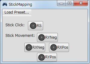 InputMapper 1.6.9 Profiles 画面で選択したプロファイルの編集画面内容 Mapping タブで右アナログスティックに割り当てられる内容 StickMapping 画面