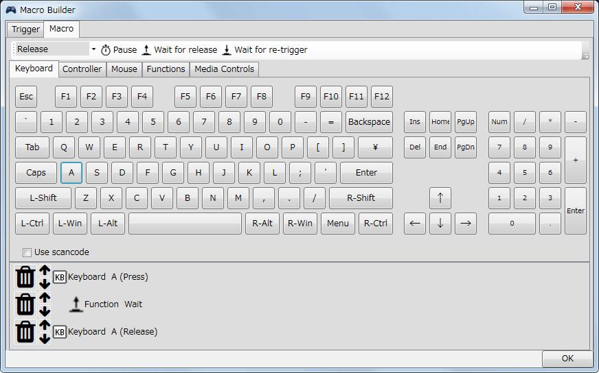 InputMapper 1.6.9 マクロ設定 マクロを起動するために入力したボタンをコントローラー側に反応させない方法、Macro タブでマクロ内容を登録する、今回はキーボードの A が入力するように設定