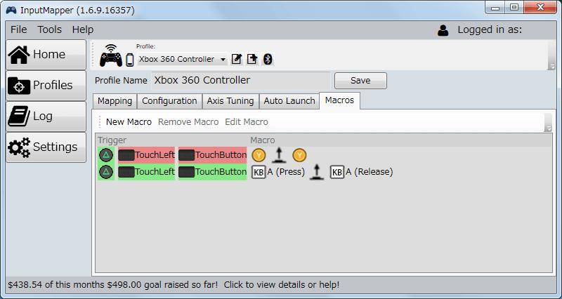 InputMapper 1.6.9 マクロ設定 マクロを起動するために入力したボタンをコントローラー側に反応させない方法、マクロ設定完了、マクロを起動するトリガーボタンをあらかじめボタン割り当てを解除し、トリガーボタンをグリーンとレッドのハイライトで分けておくことで、ボタン入力とマクロ起動に分けることができる
