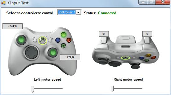 InputMapper 1.6.9 マクロ設定 マクロを起動するために入力したボタンをコントローラー側に反応させない方法、△ ボタンを単独で入力したときの Xinput Test 画面、Mapping でボタン割り当てを解除してもマクロでボタンを割り当てているため、ボタン入力の反応がある