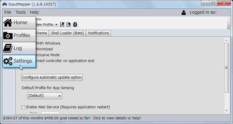 InputMapper 1.6.9 Settings ボタン、コントローラーやツールの全体的な設定が可能