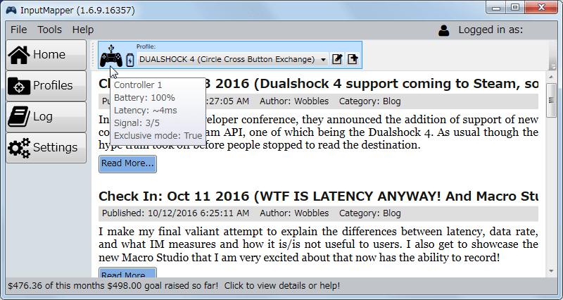 InputMapper 1.6.9 デュアルショック 4 コントローラー USB ケーブル接続時の Latency 4ms 前後