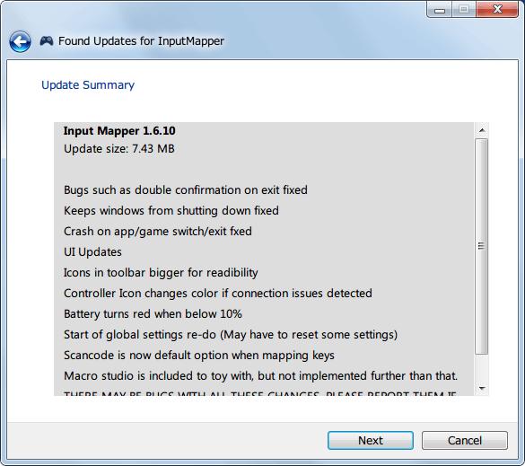 InputMapper 1.6.9 から 1.6.10 へアップデート、Update Summary 画面、Next ボタンをクリック