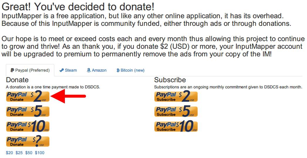 InputMapper 広告をオフにするため寄付(Donate)する方法、Donate ページにアクセス、PayPal で 2ドル以上の寄付で InputMapper の広告をオフにできる、今回は 2ドルを寄付