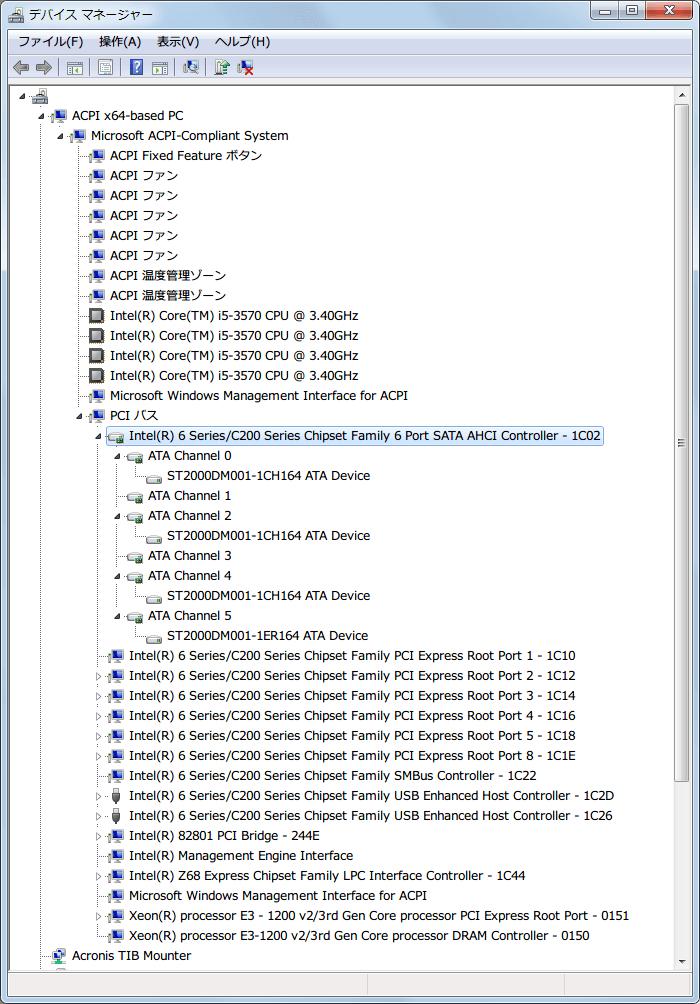 Intel ドライバー Intel Rapid Storage Technology IRST アンインストール後、デバイス(接続別)に変更表示したデバイスマネージャー、PCI バスに Intel 6 Series/C200 Series Chipset Family 6 Port SATA AHCI Controller - 1C02 が表示、以下に ATA Channel 0~5 とそれぞれのポートに接続している HDD の型番が表示