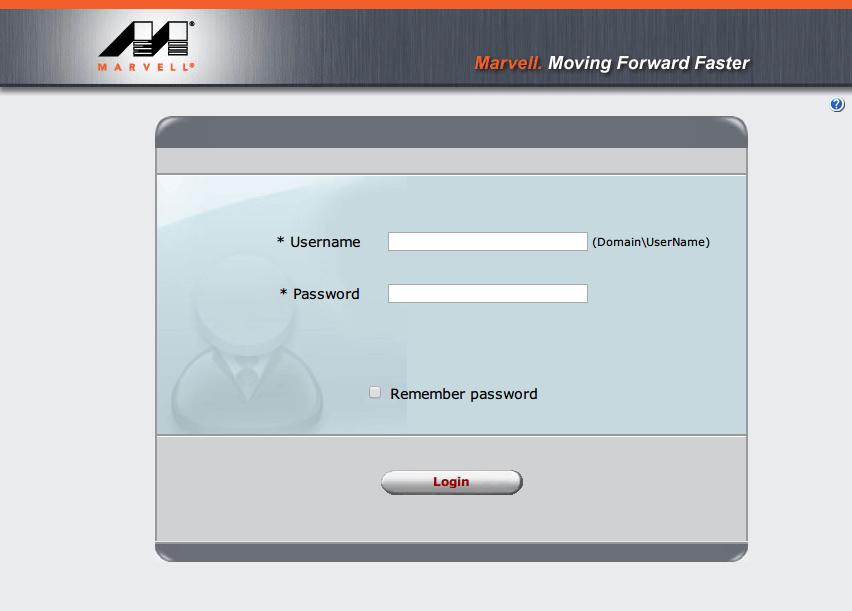 Marvell Storage Utility インストール後の Login 画面、OS のユーザーアカウントのパスワードを入力して Login