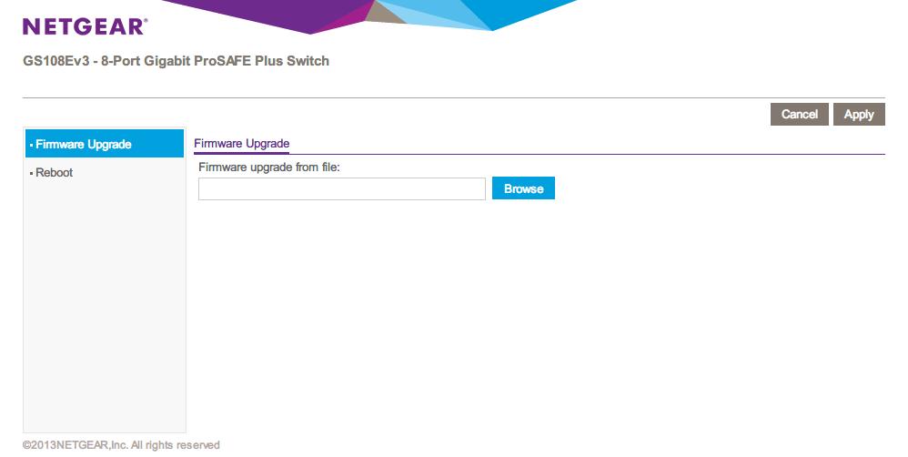 NETGEAR ネットギア アンマネージプラススイッチ ギガ 8ポート スイッチングハブ 管理機能付 無償永久保証 GS108E-300JPS Firmware Upgrade 画面