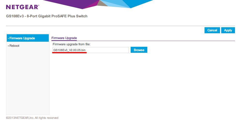 NETGEAR ネットギア アンマネージプラススイッチ ギガ 8ポート スイッチングハブ 管理機能付 無償永久保証 GS108E-300JPS Firmware Upgrade 画面、Browse ボタンをクリック、GS108Ev3_V2.00.05.bin ファイルを選択