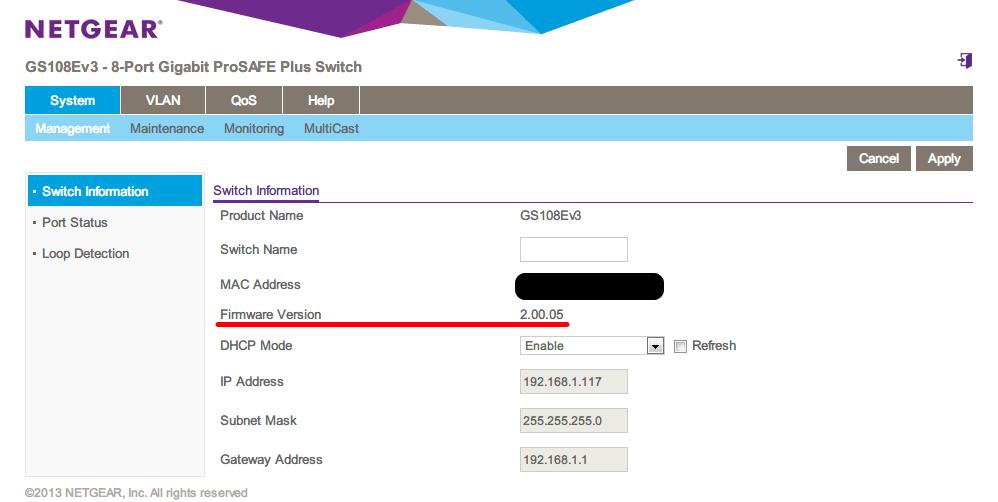 NETGEAR ネットギア アンマネージプラススイッチ ギガ 8ポート スイッチングハブ 管理機能付 無償永久保証 GS108E-300JPS System - Management - Switch Information Firmware Version 2.00.03 から 2.00.05 にアップデート