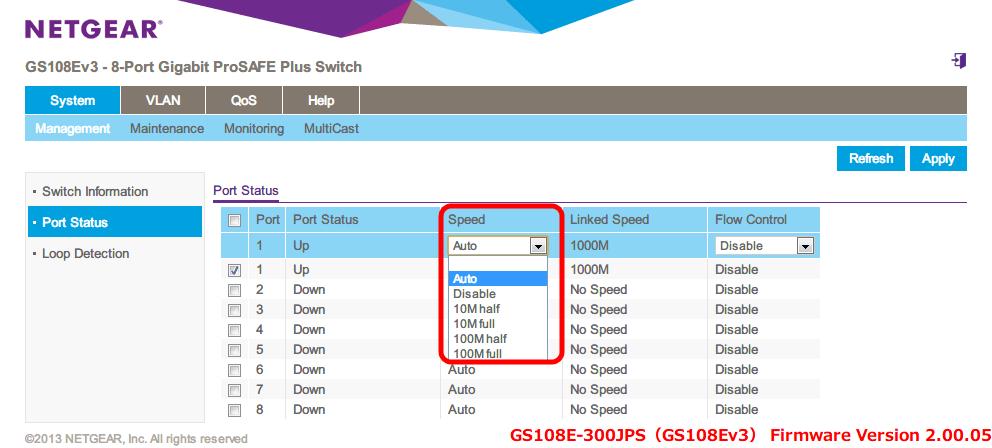 NETGEAR ネットギア アンマネージプラススイッチ ギガ 8ポート スイッチングハブ 管理機能付 無償永久保証 GS108E-300JPS Web 管理画面 System - Management - Port Status - Speed(初期設定 Auto) をクリックするとメニューが表示されるので、その中から Auto, Disable, 10M harf, 10M full, 100M half, 100M full が選択可能