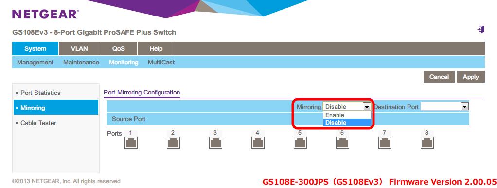 NETGEAR ネットギア アンマネージプラススイッチ ギガ 8ポート スイッチングハブ 管理機能付 無償永久保証 GS108E-300JPS Web 管理画面 System - Monitoring - Port Mirroring Configuration - Mirroring(初期設定 Disable) をクリックするとメニューが表示されるので、その中から Enable, Disable が選択可能