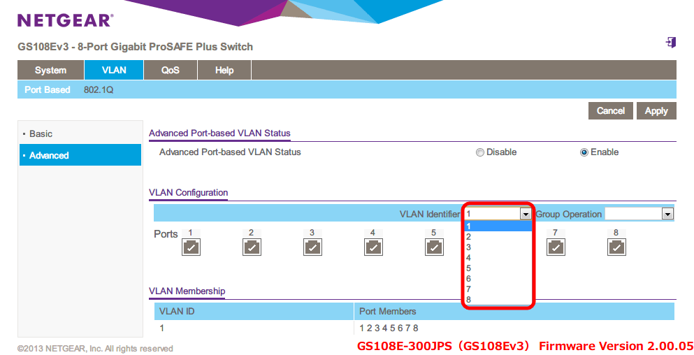 NETGEAR ネットギア アンマネージプラススイッチ ギガ 8ポート スイッチングハブ 管理機能付 無償永久保証 GS108E-300JPS Web 管理画面 VLAN - Port Based - Advanced Port-based VLAN Status → Enable - VLAN Configuration - VLAN Identifier 1~8 が選択可能となっておりここで設定した内容が下部の VLAN Membership の VLAN ID と Port Members に反映される、初期設定では VLAN ID 1、Port Members 1~8 までが設定されており、全ポートアクセス可能な状態となっている
