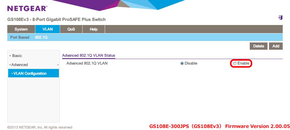 NETGEAR ネットギア アンマネージプラススイッチ ギガ 8ポート スイッチングハブ 管理機能付 無償永久保証 GS108E-300JPS Web 管理画面 VLAN - 802.1Q - Advanced - VLAN Configuration - Advanced 802.1Q VLAN Status - Enable を選択