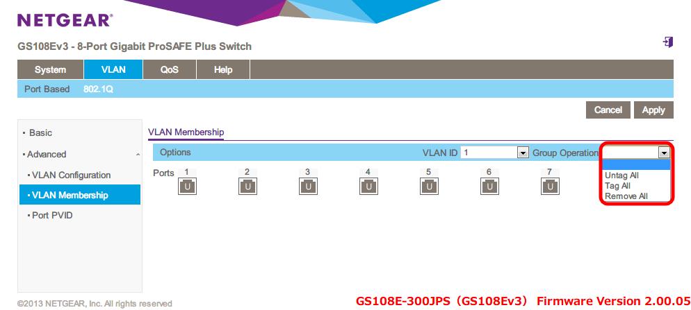 NETGEAR ネットギア アンマネージプラススイッチ ギガ 8ポート スイッチングハブ 管理機能付 無償永久保証 GS108E-300JPS Web 管理画面 VLAN - 802.1Q - Advanced - VLAN Membership - Group Operation には Untag All, Tag All, Remove all があるので、Ports の一括タグ(Tag)、アンタグ(Untag)、タグ一括解除が可能