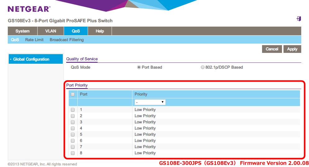 NETGEAR ネットギア アンマネージプラススイッチ ギガ 8ポート スイッチングハブ 管理機能付 無償永久保証 GS108E-300JPS Web 管理画面 QoS - QoS - Global Configuration - Port Priority 画面