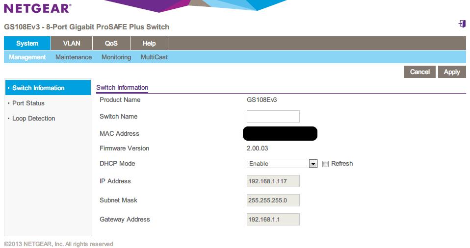 NETGEAR ネットギア アンマネージプラススイッチ ギガ 8ポート スイッチングハブ 管理機能付 無償永久保証 GS108E-300JPS Web 管理画面