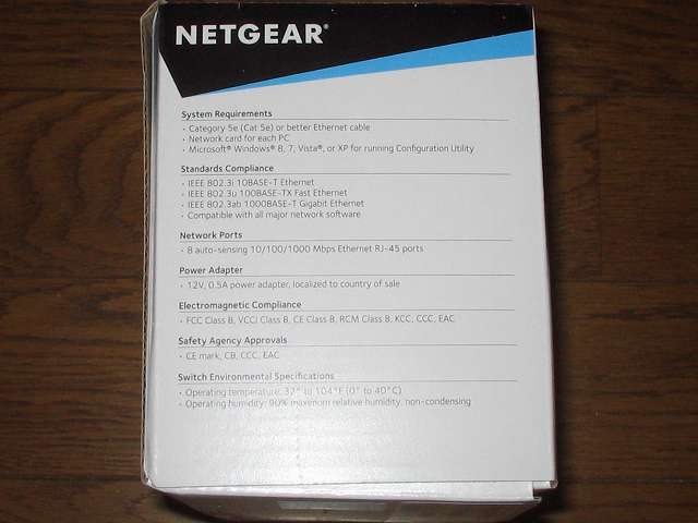 NETGEAR ネットギア アンマネージプラススイッチ ギガ 8ポート スイッチングハブ 管理機能付 無償永久保証 GS108E-300JPS パッケージ側面 その1