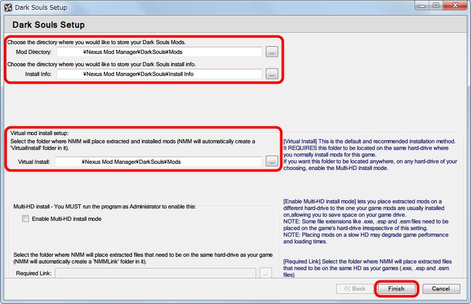 Nexus Mod Manager ダウンロードした Mod ファイルの保存フォルダ設定画面、デフォルトでは NMM がインストールされた場所に自動的にフォルダ名・パス名が指定され、Finish ボタンをクリックすると設定される(後で変更は可能)