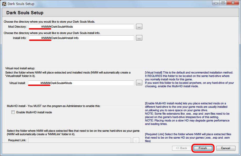 Nexus Mod Manager ダウンロードした Mod ファイルの保存フォルダ設定画面、今回は NMM がインストールされたフォルダ以外の場所を手動で設定して Finish ボタンをクリック