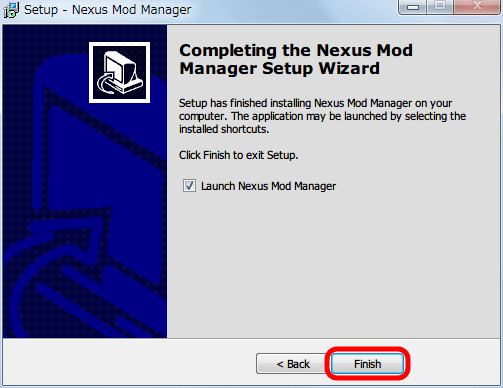 Nexus Mod Manager 0.61.23 インストール、Completing the Nexus Mod Manager Setup Wizard 画面、Finish ボタンをクリックしてインストール完了