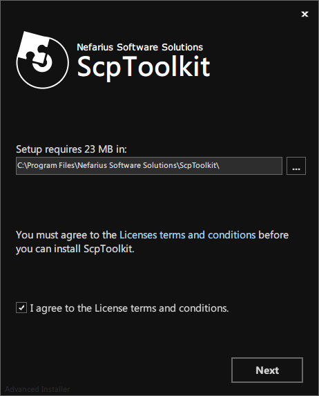 ScpToolkit インストーラー画面、インストール先フォルダを確認または変更して I agreeto the License terms and conditions. にチェックマークを入れたら Next ボタンをクリック