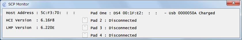 ScpToolkit インストール時に作成されたショートカットから ScpToolkit Monitor (legacy) を起動、デュアルショック 4 が USB ケーブル接続で認識していることを確認