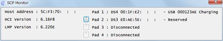 SCP Monitor 上で Pad 横のボタンをクリックすることで Pad 番号の入れ替えが可能