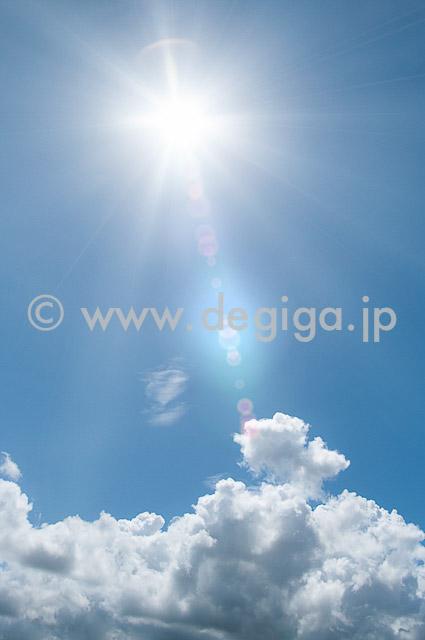 夏雲と日差し(タイトル:夏雲と向日葵そして実り)