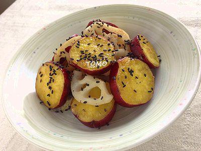 サツマイモとレンコンの甘酢炒め