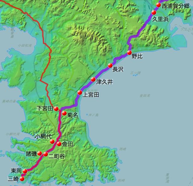 金沢・浦賀・三崎道の各村の位置(南半分)-2