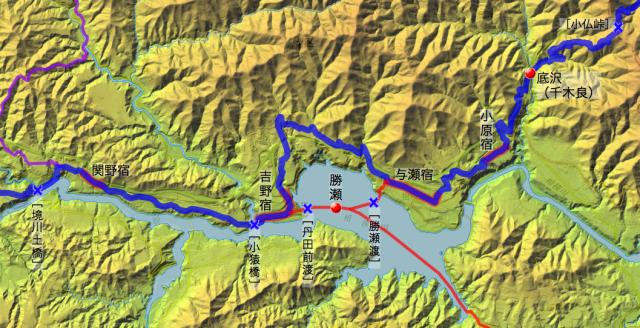 甲州街道:津久井県の各村・宿場の位置