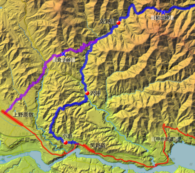 佐野川往還:津久井県内の各村の位置
