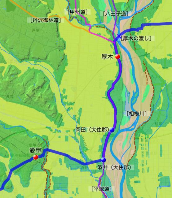 矢倉沢往還:愛甲郡中の各村の位置
