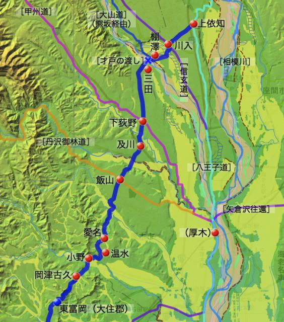 大山道㈠:愛甲郡中の各村の位置