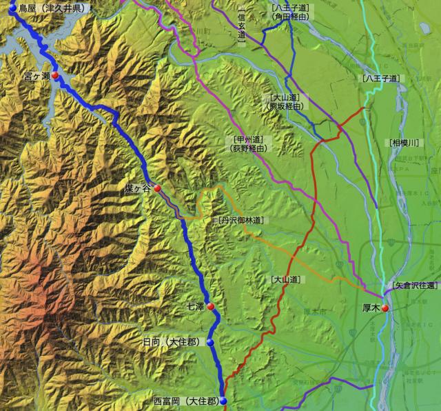 甲州道㈡:愛甲郡中の各村の位置