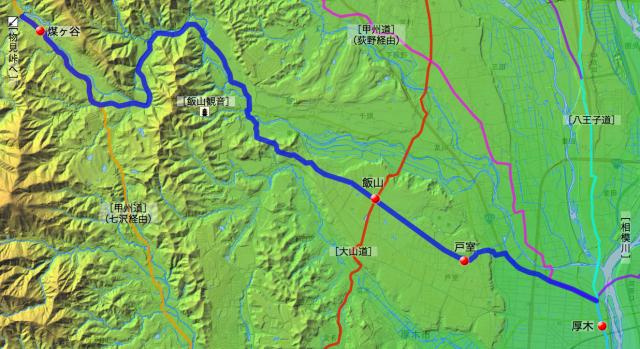 丹沢御林道:愛甲郡中の各村の位置