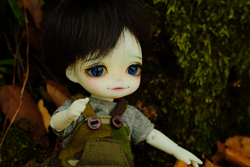 WITHDOLL、Halloween Limited Edition / Black Cat / Butler Pookyのキオ。苔むした木の根元で、ニコニコしています。