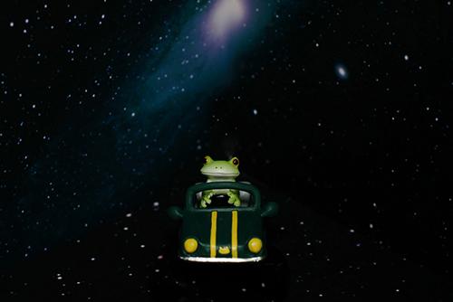 ツバキアキラが撮ったカエルのコポー。星空の中を車で走るコポタロウ。
