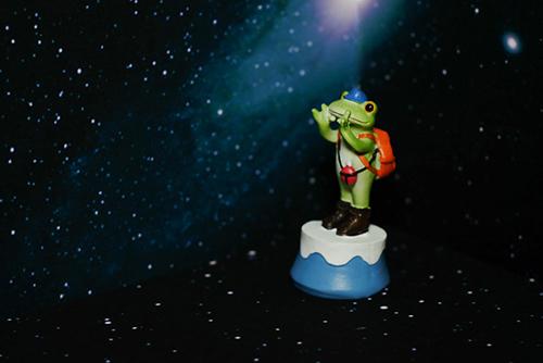 ツバキアキラが撮ったカエルのコポー。富士山のてっぺんまで登ったら、宇宙に届いてしまったコポタロウ。