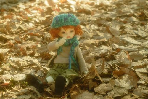DOLLZONE・Ginoのテオに森ボーイなお洋服を着せて、落ち葉の敷き詰められた公園へ。