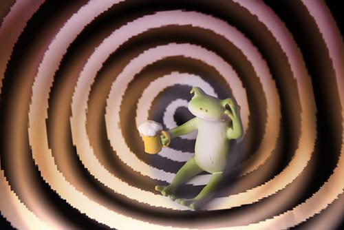 ツバキアキラが撮ったカエルのコポー。ビールを飲みすぎて、目が回っているコポタロウ。
