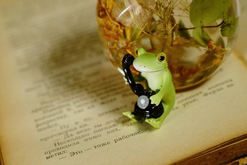 ツバキアキラが撮ったカエルのコポー。レトロな黒電話で電話をかけているコポタロウ。