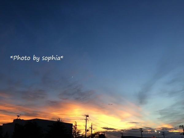台風接近の夕空