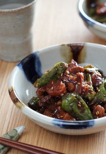 砂肝としし唐のコチュジャン炒め1