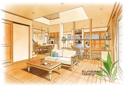 一戸建て住宅 木造住宅 注文住宅 完成予想図 リビング LDK インテリアパース 内観パース 手書きパース 手描きパース フォトショップ photoshop