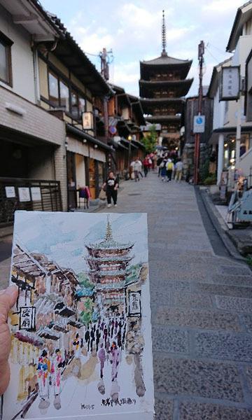 181105京都八坂通り・八坂の塔スケッチ