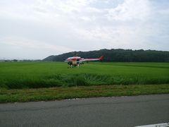 【写真】農園前の田んぼでリモコンヘリが飛び立とうとしているところ