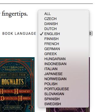 Pottermoreで言語選択の項目